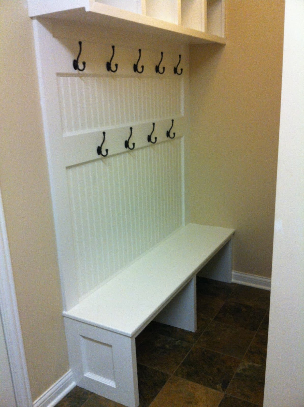 Wonderful Function Of Mudroom Bench Simple White Wooden Material Black Hangers