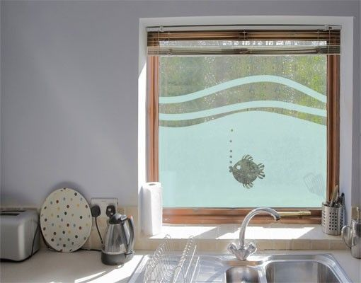 Fensterfolie sichtschutzfolie no ul946 fischchen ii milchglasfolie 1 fenster dekoration - Badezimmer fenster glas ...