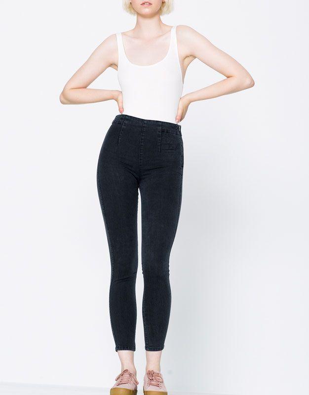 Jeans vita alta cerniera laterale - Jeans - DENIM - HIDDEN - PULL&BEAR Italia