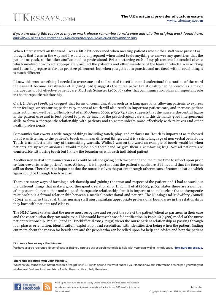 Patient Care Essay  Romefontanacountryinncom Nurse Patient Relationship Essay Submission Specialist Slot  Patient Care  Essay