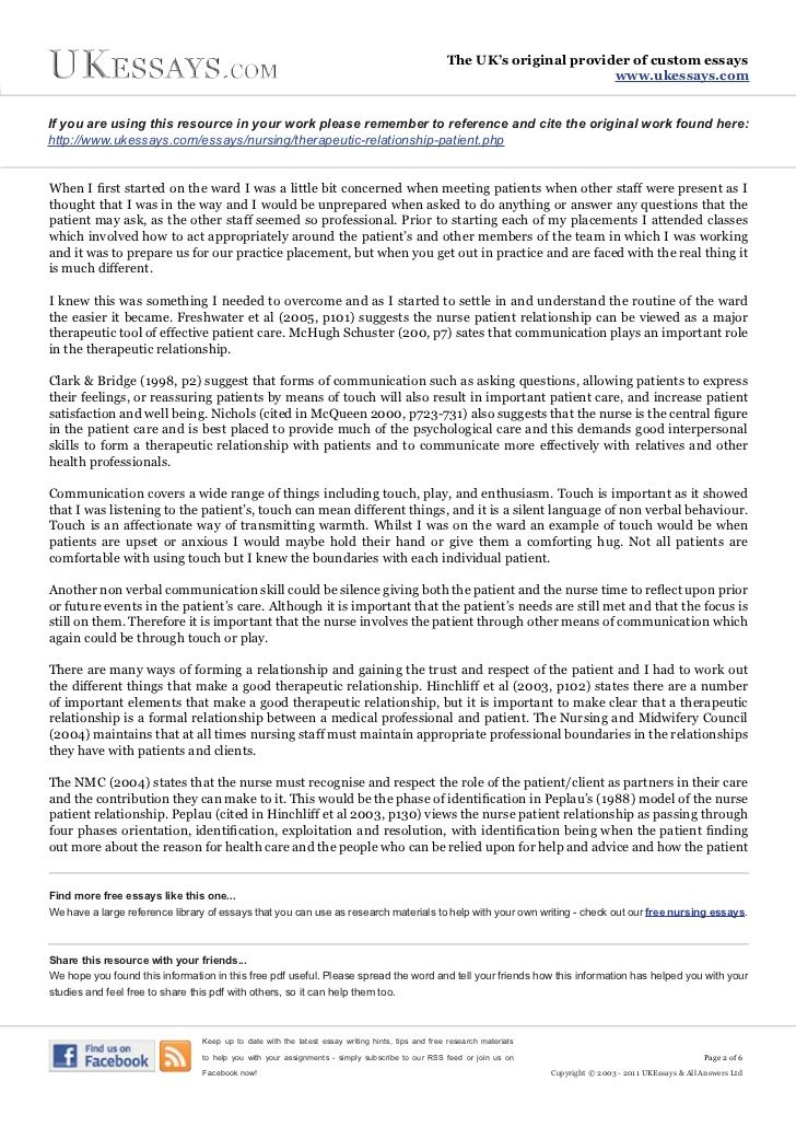 nurse patient relationship essay