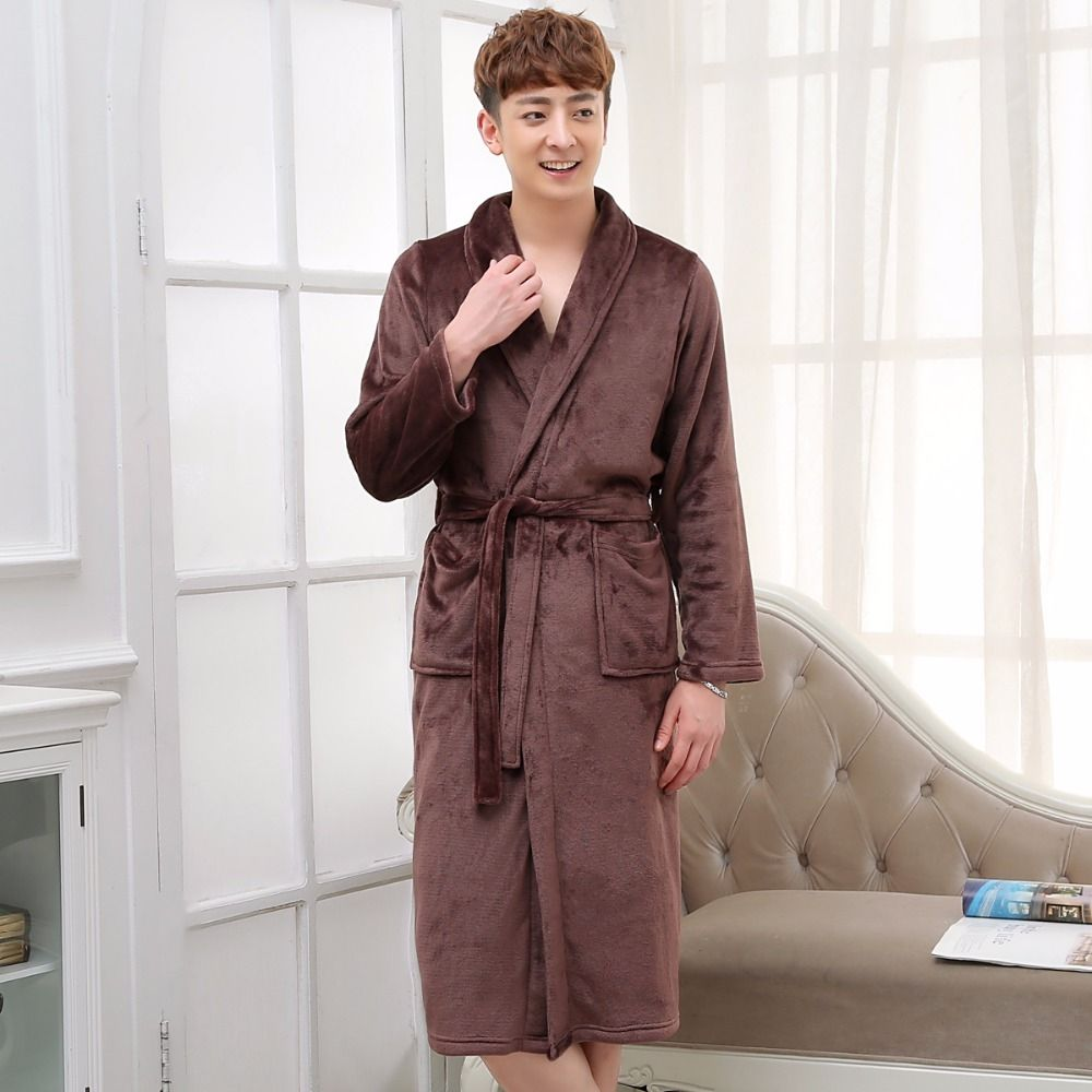 Men Women Long Silk Flannel Bath Robe Badjas Peignoir Homme Winter ...
