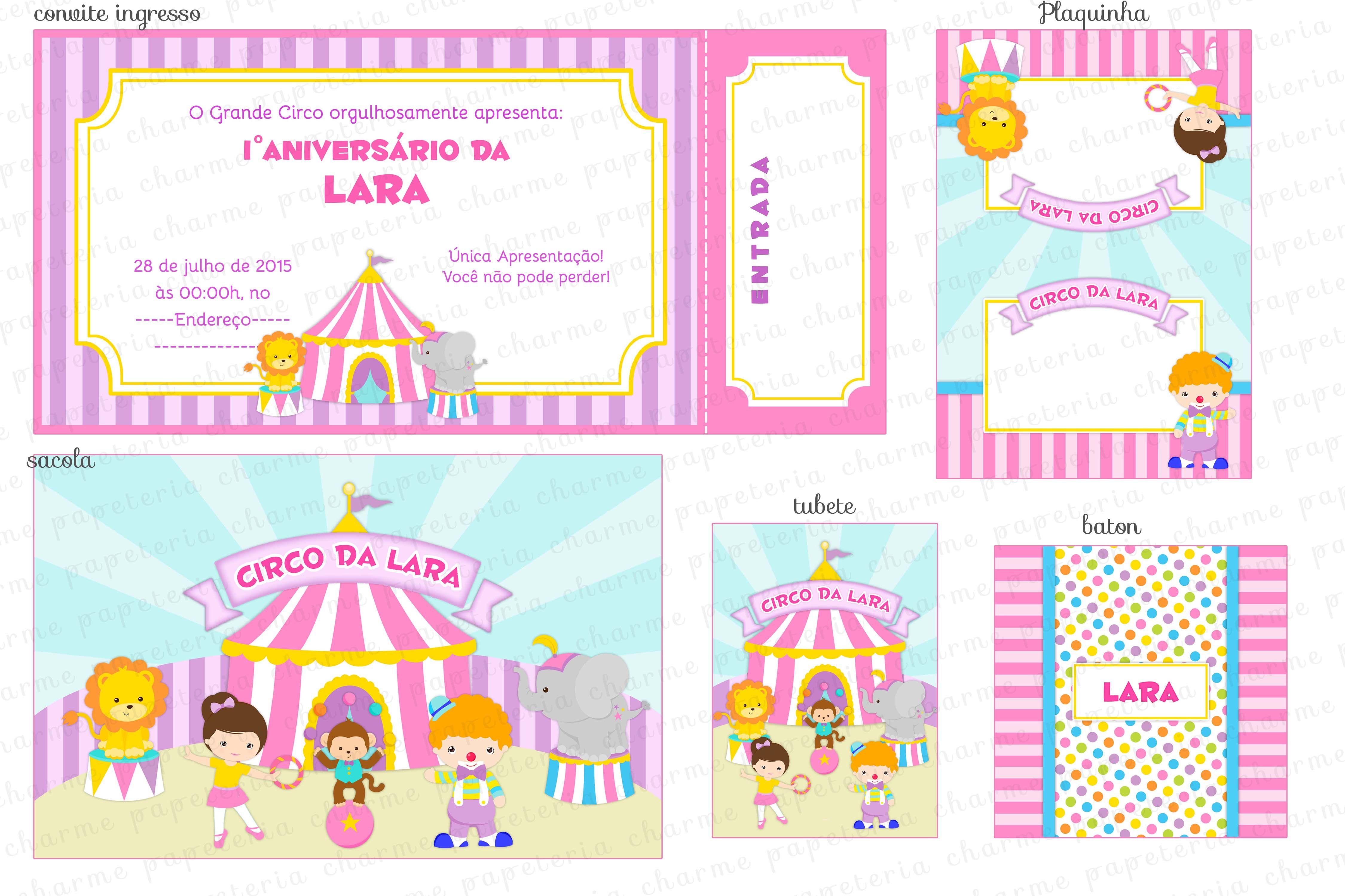 Kit digital Circo para menina - rosa lilás amarelo e azul - colorido ...