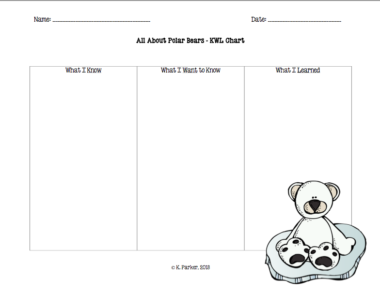 Polar Bear Kwl Chart  I Heart Teaching    Chart