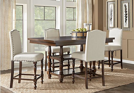 Stanton Cherry 5 Pc Counter Height Dining Room With Ivory Barstools Traditiona Modern Farmhouse Dining Room Farmhouse Dining Room Table Modern Farmhouse Dining