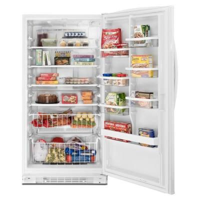 Whirlpool 20 1 Cu Ft Frost Free Upright Freezer In White Ev201nztq The Home Depot Upright Freezer Lowes Home Improvements Freezer