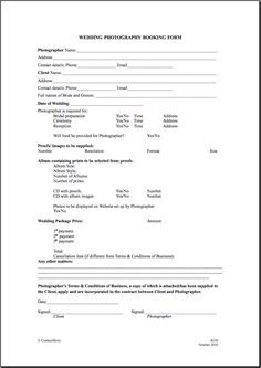 Printable Sample Wedding Photography Contract Template Form