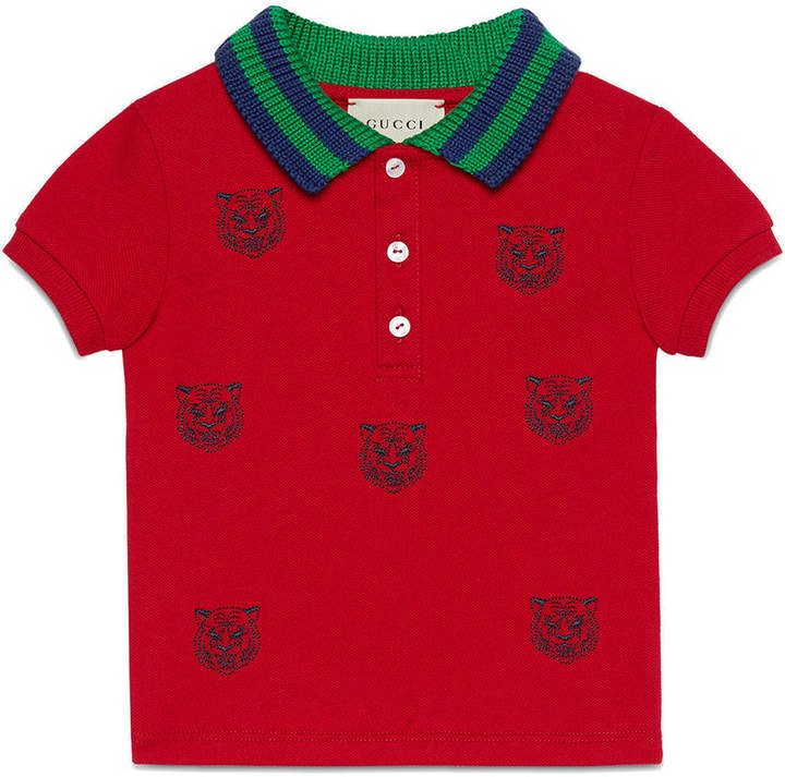37645fcb5 Gucci Kids Baby polo with tiger heads embroidery | amazon | Baby ...