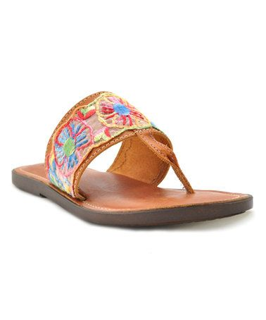 Sbicca Natural Embroidered Sombrio Leather Sandal