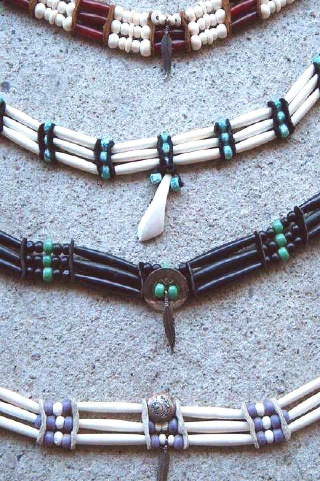 Native american bone beaded chokers 4500 via EtsyYou can find Native american jewelry and more on our websiteNative american bone beaded chokers 4500 via Etsy