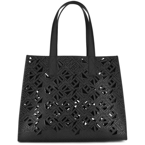 Kenzo laser cut tote bag (5 180 SEK) ❤ liked on Polyvore featuring bags, handbags, tote bags, black, hand bags, tote handbags, zip tote bag, tote hand bags and handbags totes