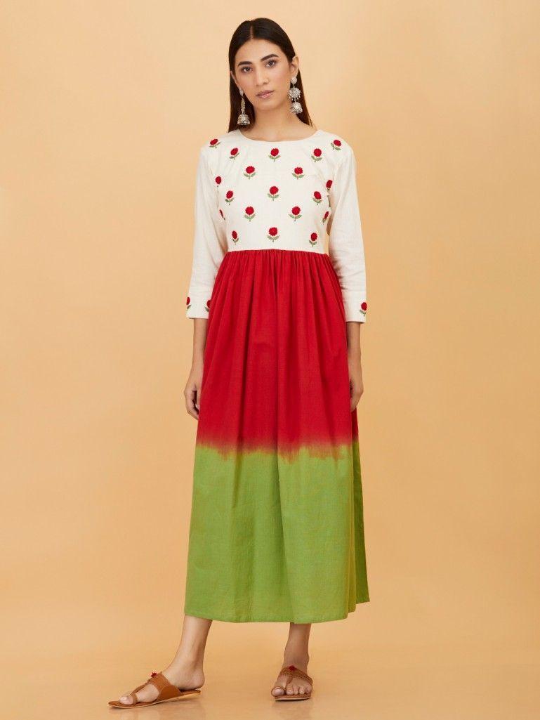Ivory Red Green Embroidered Khadi Dress Indigo Embroidered Fashion Women Shopping