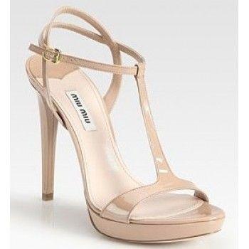latest for sale cheap sale largest supplier Miu Miu Patent Leather T-Strap Sandals discount fast delivery outlet best sale 4uaDqT