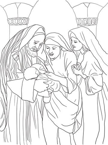 Zechariah Elizabeth And Baby John The Baptist Coloring Page