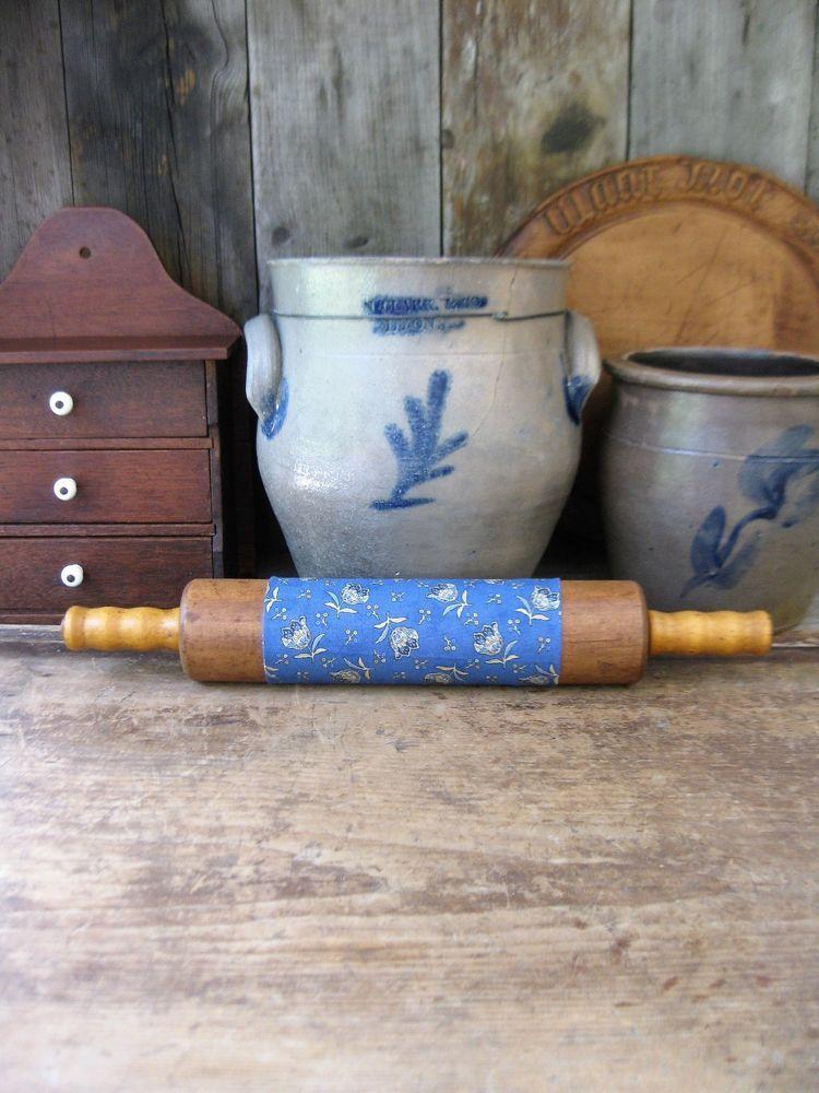 Antique wood rolling pin original mustard paint calico