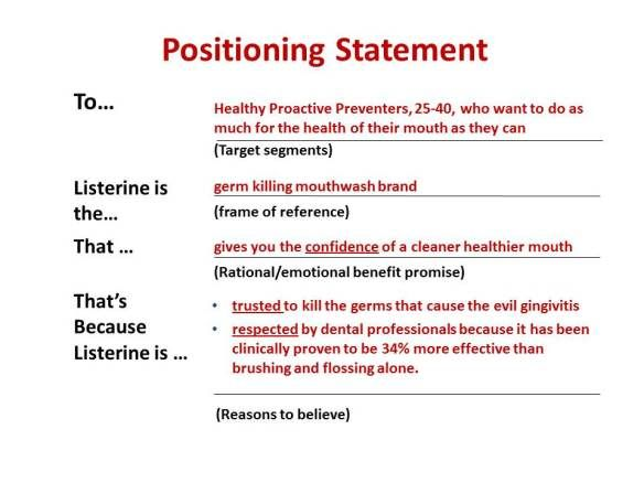 positioning statement example for food