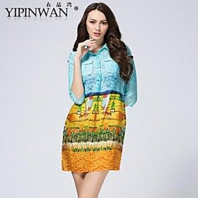 YIPINWAN  Women's Sleeve Splicing Silk Linen Printed Dress