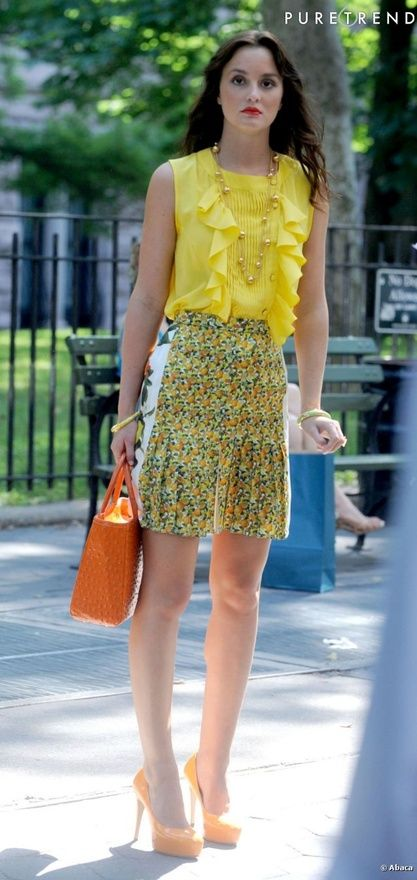 Blair Waldorf Summer Style  Season 5 Stella McCartney Spring 2011 Skirt.  Brian Atwood Maniac Shoes. Riki Rosetta Bag.