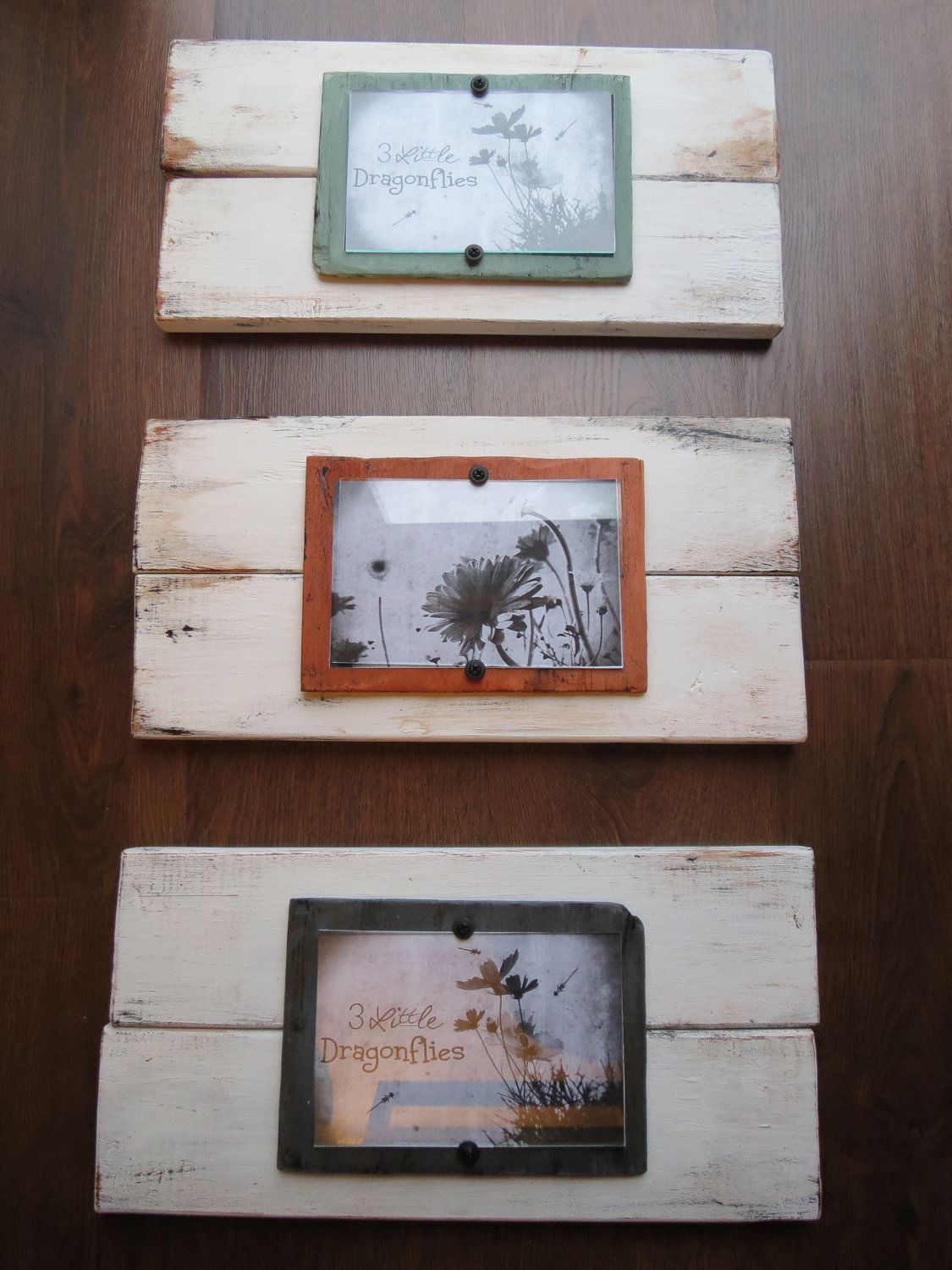Distressed wood plank frame set of 3 for 4x6 pictures made to distressed wood plank frame set of 3 for 4x6 pictures made to order shabby cottage chic beach rustic jeuxipadfo Gallery