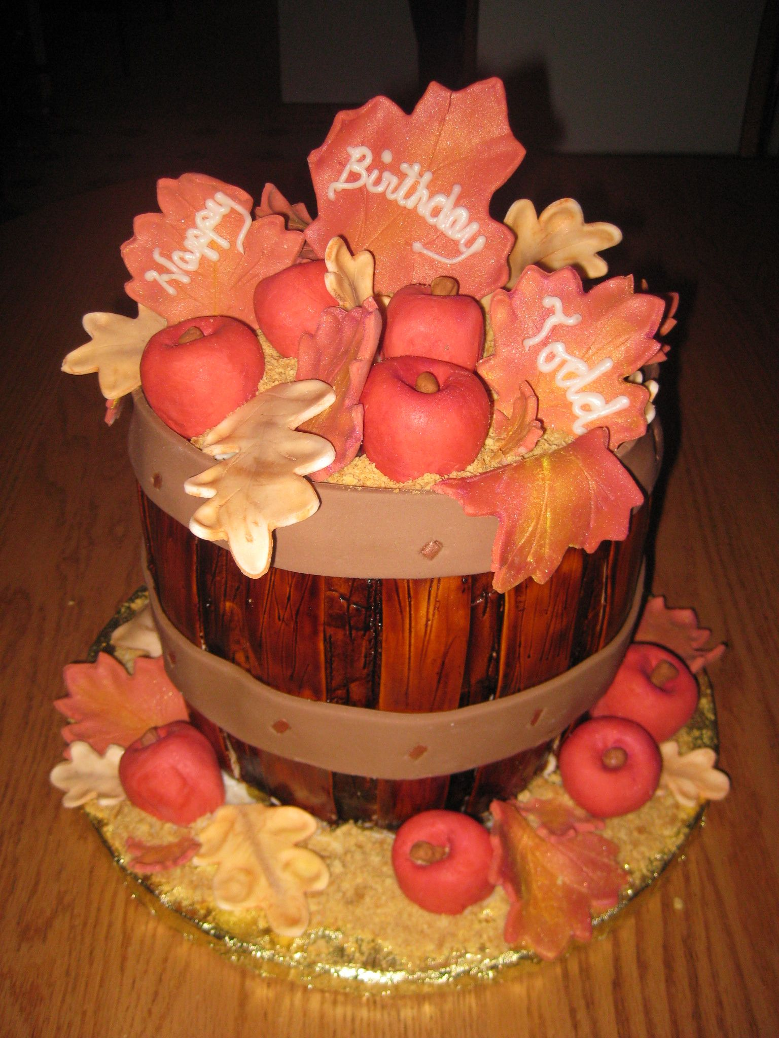 Autumn Apple barrel cake. Stained cake and fondant with food ...