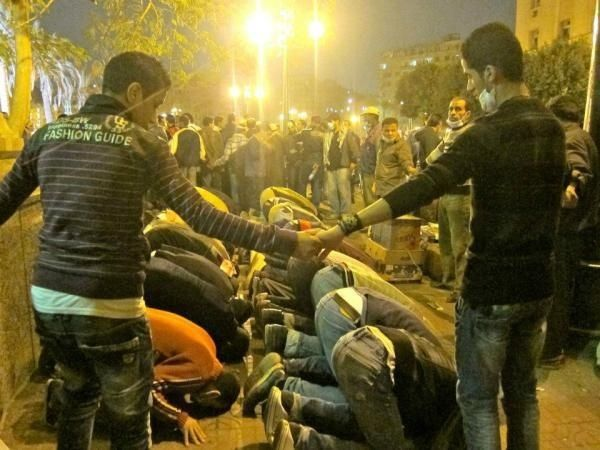 Christians Protecting Muslims At Prayer During Egypt
