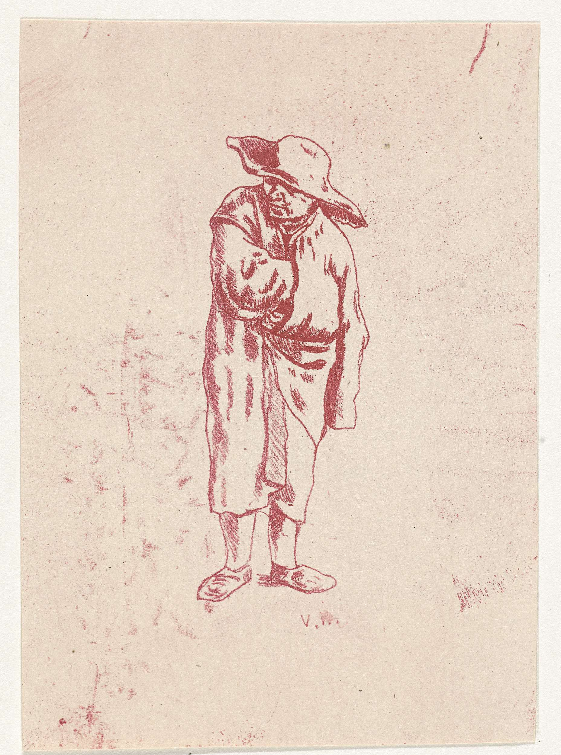 Nicolaas Gerhard van Huffel | Man met arm in zijn jas gestoken, Nicolaas Gerhard van Huffel, 1910 | Staande man met rechterarm in zijn jas gestoken. Hij draagt een hoed.