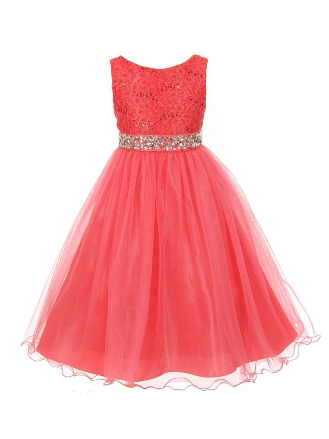 a7f366c0546 Amazon.com  JM Dreamline Sleeveless Shiny Tulle Flower Girls Dress with  Beaded Waist  Clothing
