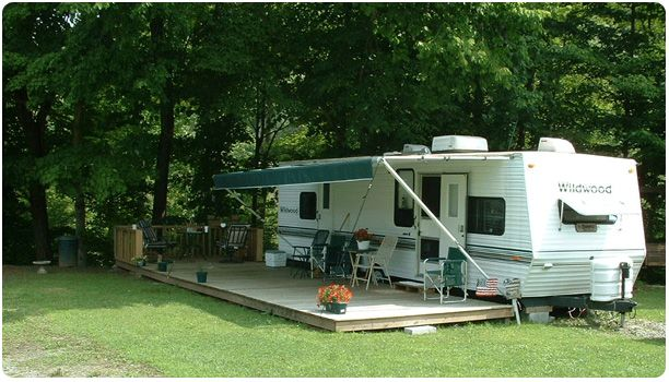 Deck Awning More Permanent Set Up Giant Rv Remodeled Campers Rv Campsite Tent Camping