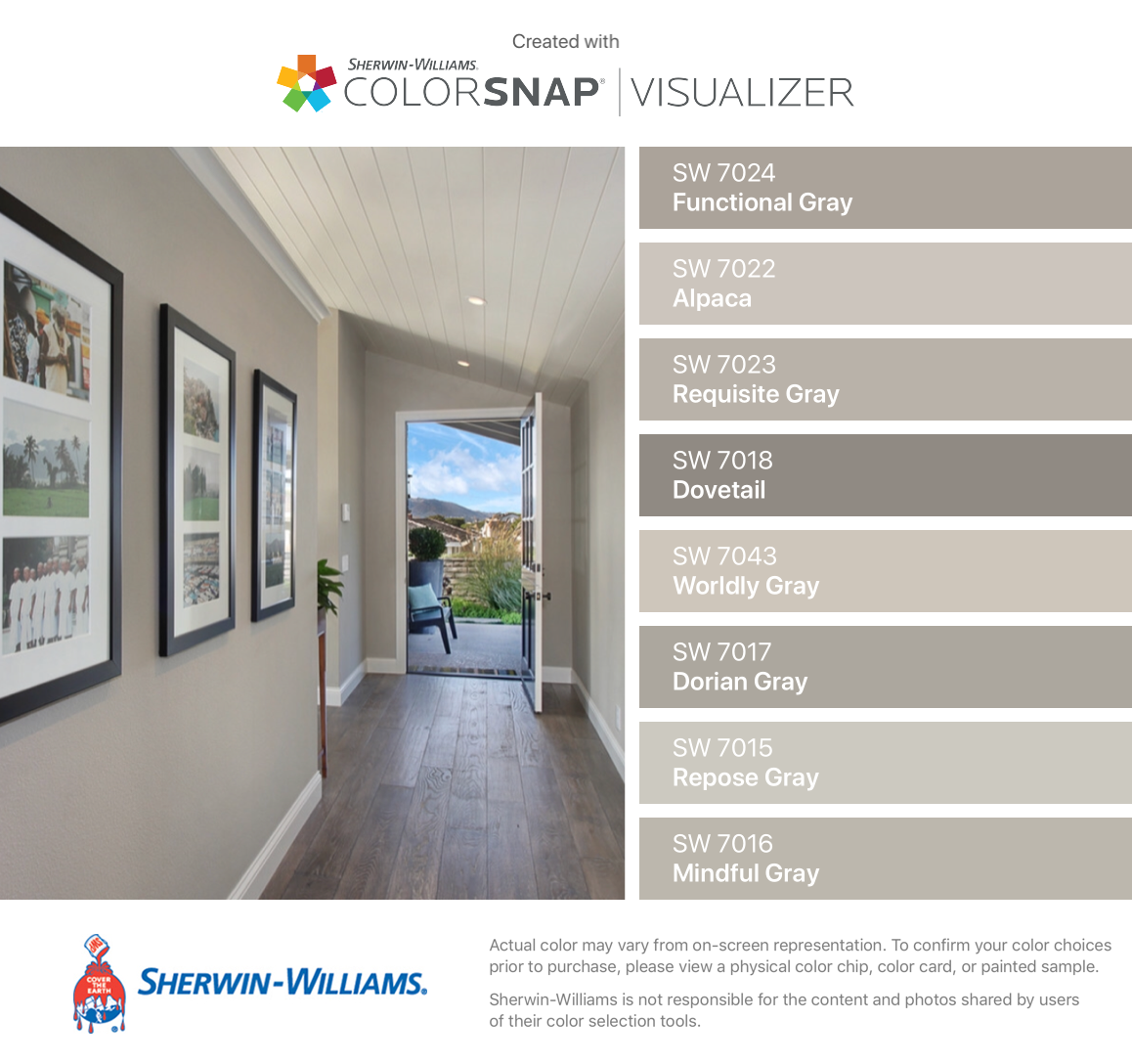 I Found These Colors With Colorsnap Visualizer For Iphone By Sherwin Williams Functional Gray Farmhouse Paint Colors Room Paint Colors Paint Colors For Home