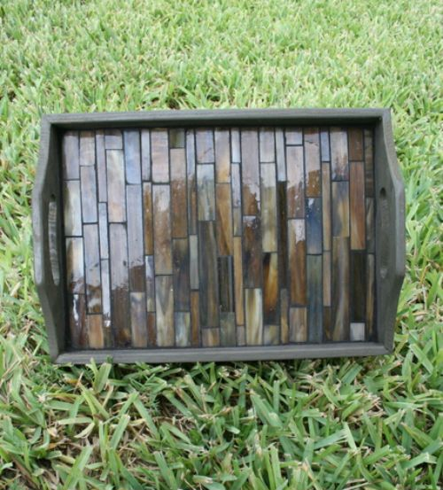 wood tray with glass tile