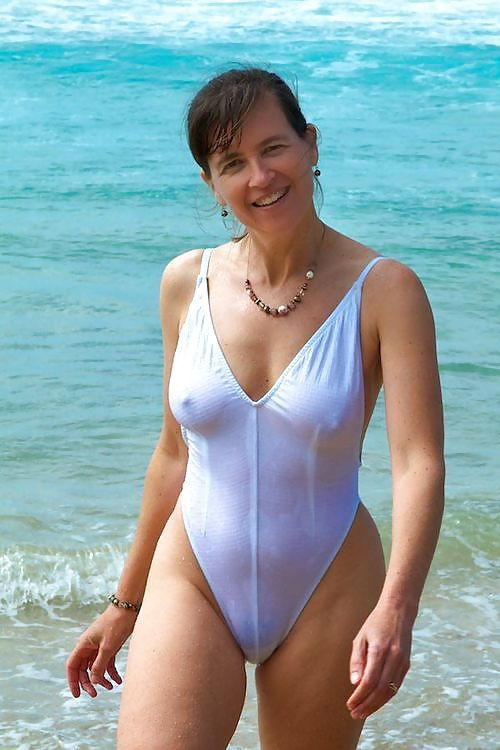Spanish Mature in White Swimsuit