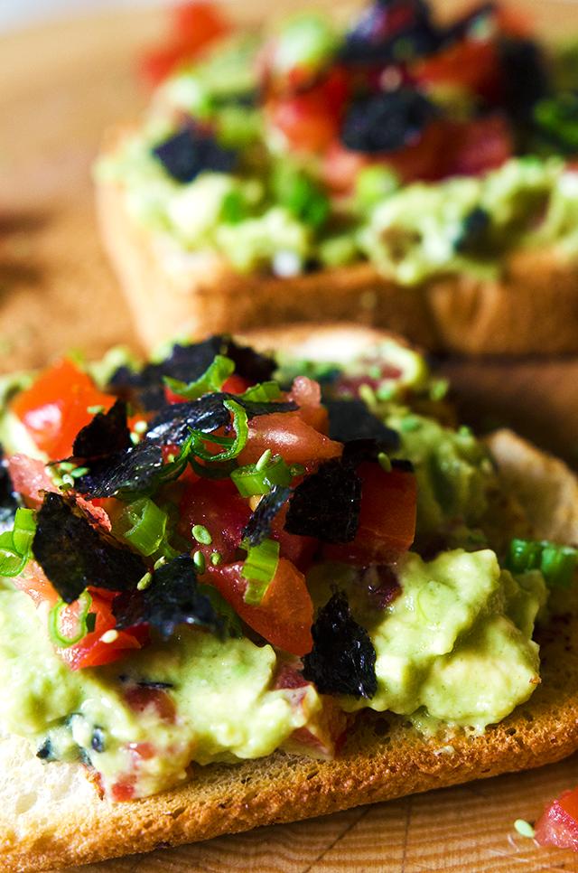 vegan avocado nori and scallion toast Delicious