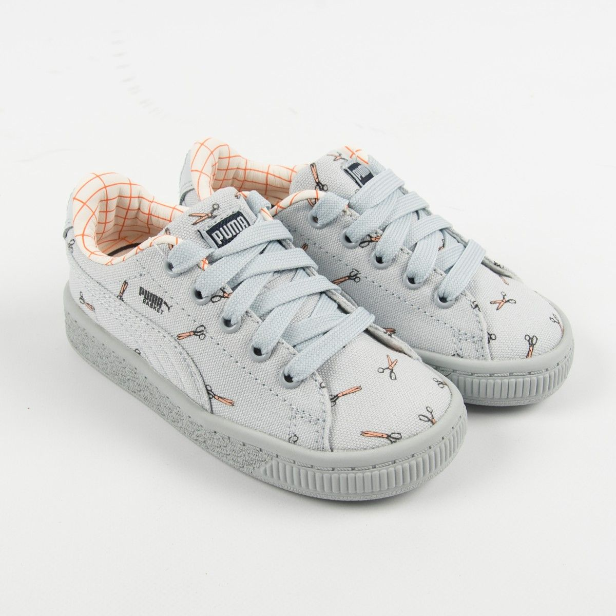 "787e67413f53 Puma x Tinycottons ""Basket CVS"" Illusion Blue Sneakers with Print Kids  Canvas"