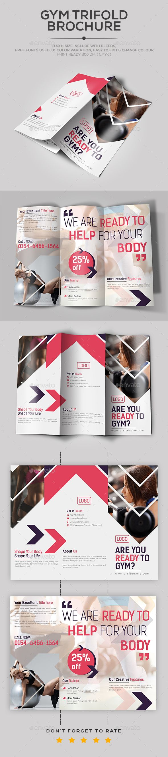 Gym Trifold Brochure  Brochures Brochure Template And Gym