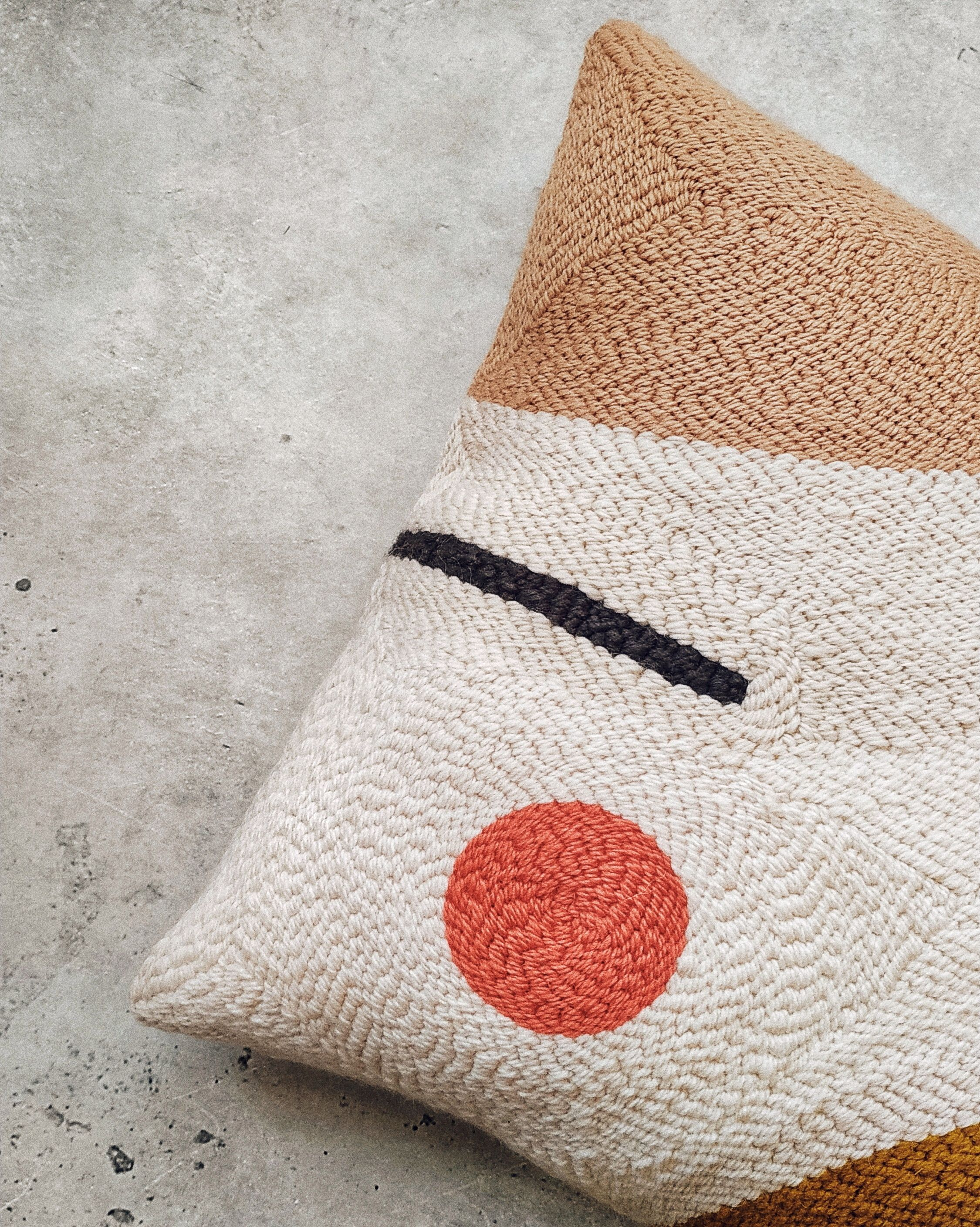 Modern abstract punchneedle pillowcase · Beige, mustard and coral accent pillow · Minimalistic decor
