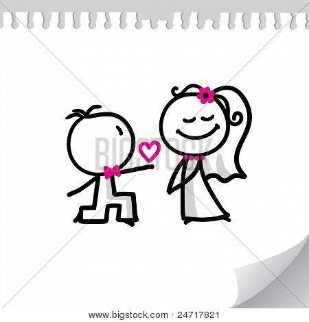 Munequitos De Palitos Enamorados Para Colorear Cartoon Wedding Couples Cute Images