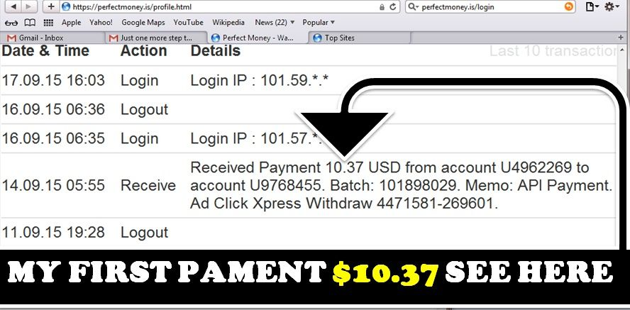 Ad Click Xpress first payment proof I got it in Perfect