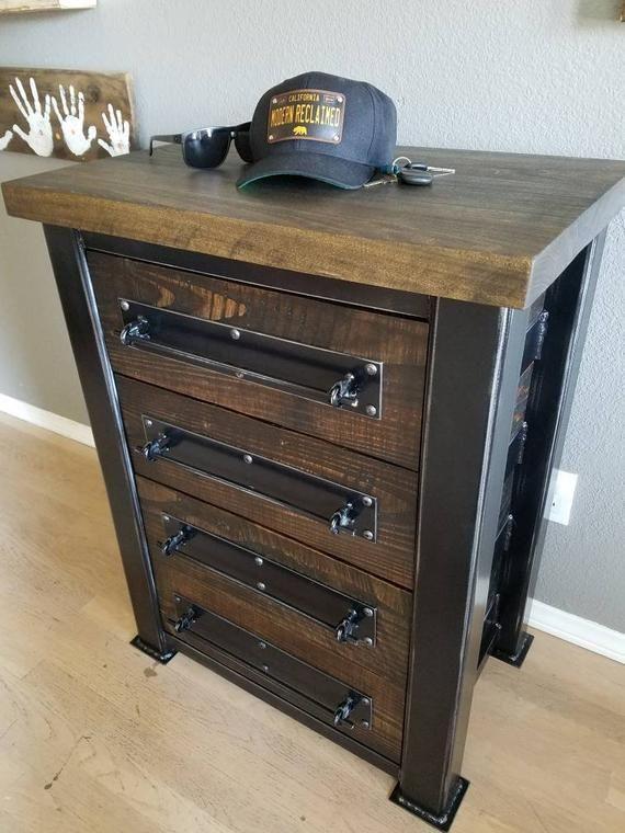 Vintage Industrial Chest Of Drawer Dresser Storage