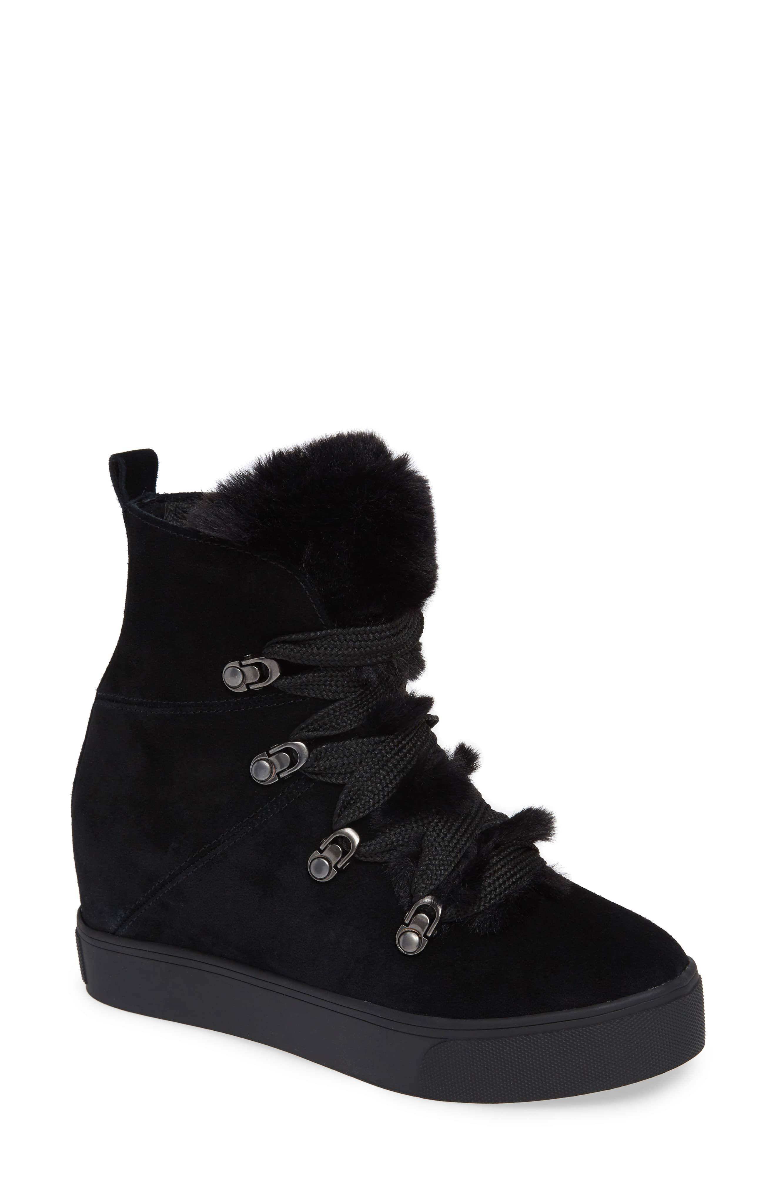 b8db36de095 Women's Jslides Whitney Faux Fur Trim High Top Sneaker, Size 5 M ...