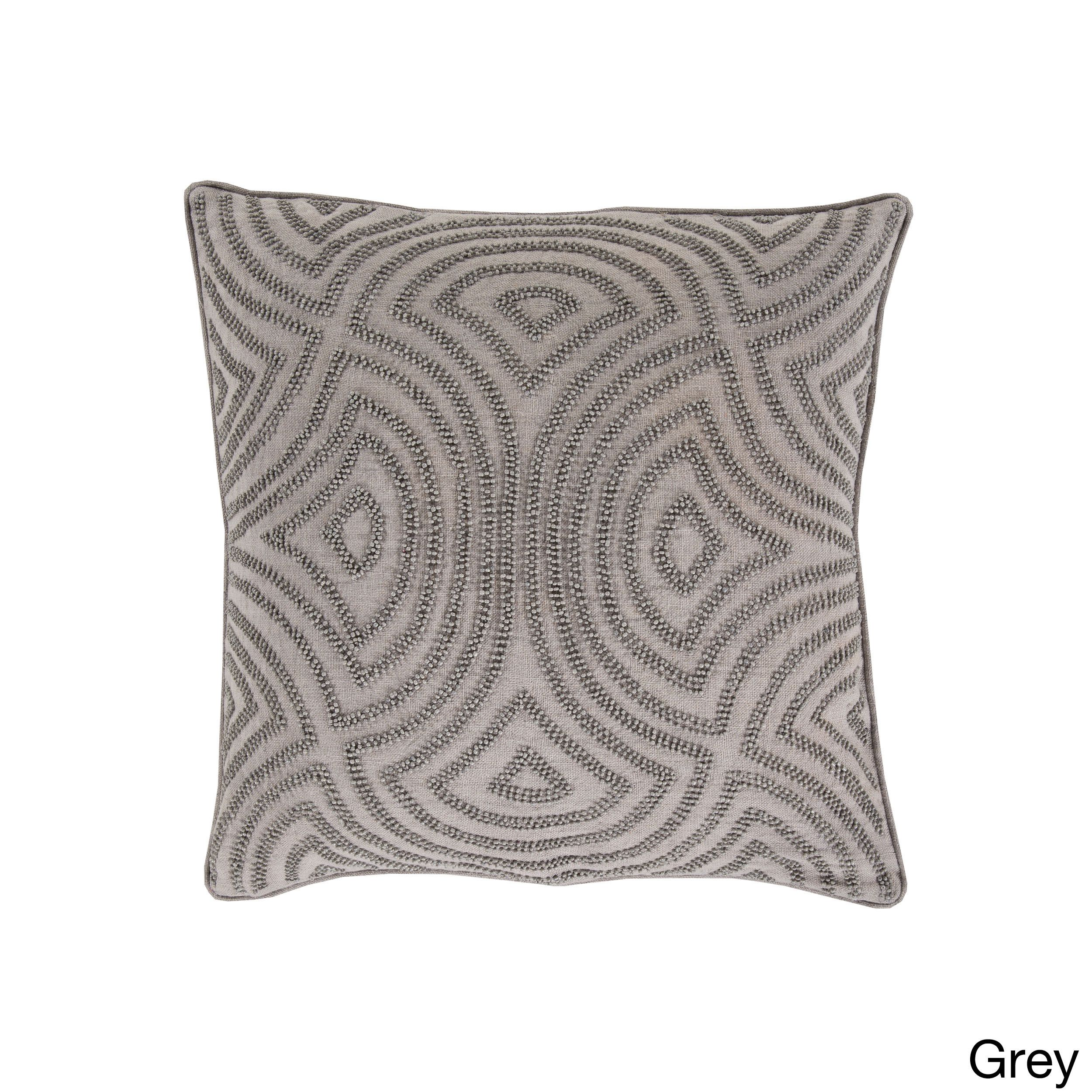 Decorative Adriel Geometric 18-inch Pillow (Down - Taupe), Grey, Size 18 x 18 (Organic, Embroidered)
