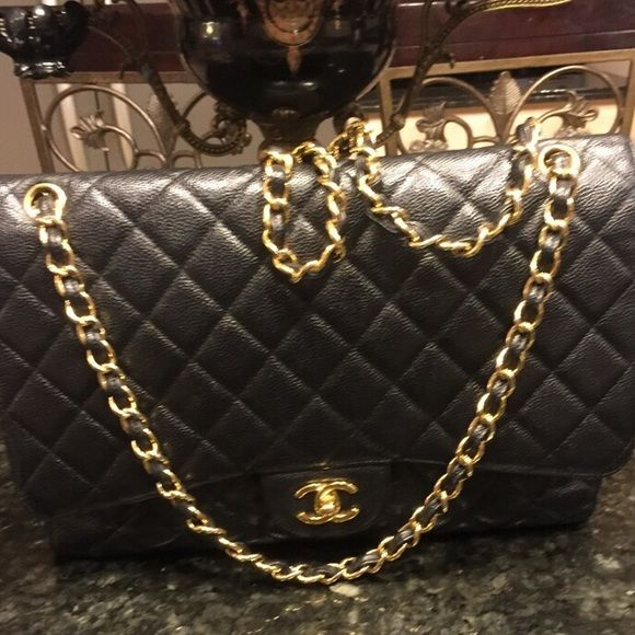 Chanel jumbo classic 100% authentic Chanel jumbo classic black with gold hardware caviar finish. Timeless bag. No box, can't find dust bag or card but posh mark will authentic for free. Really great price for this beautiful bag. CHANEL Bags Shoulder Bags