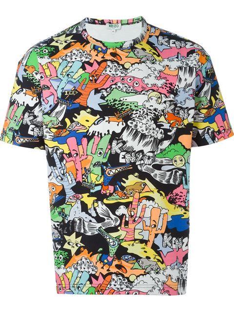 Kenzo Landscape T Shirt Spazio Pritelli Farfetch Com Cartoon T Shirts Tshirt Design Men Mens Tshirts