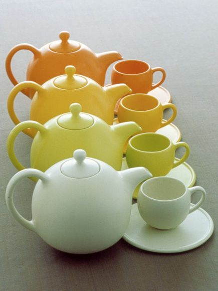 """""""Fat"""" ceramic teapot with cup and saucer by Aldo Cibic."""