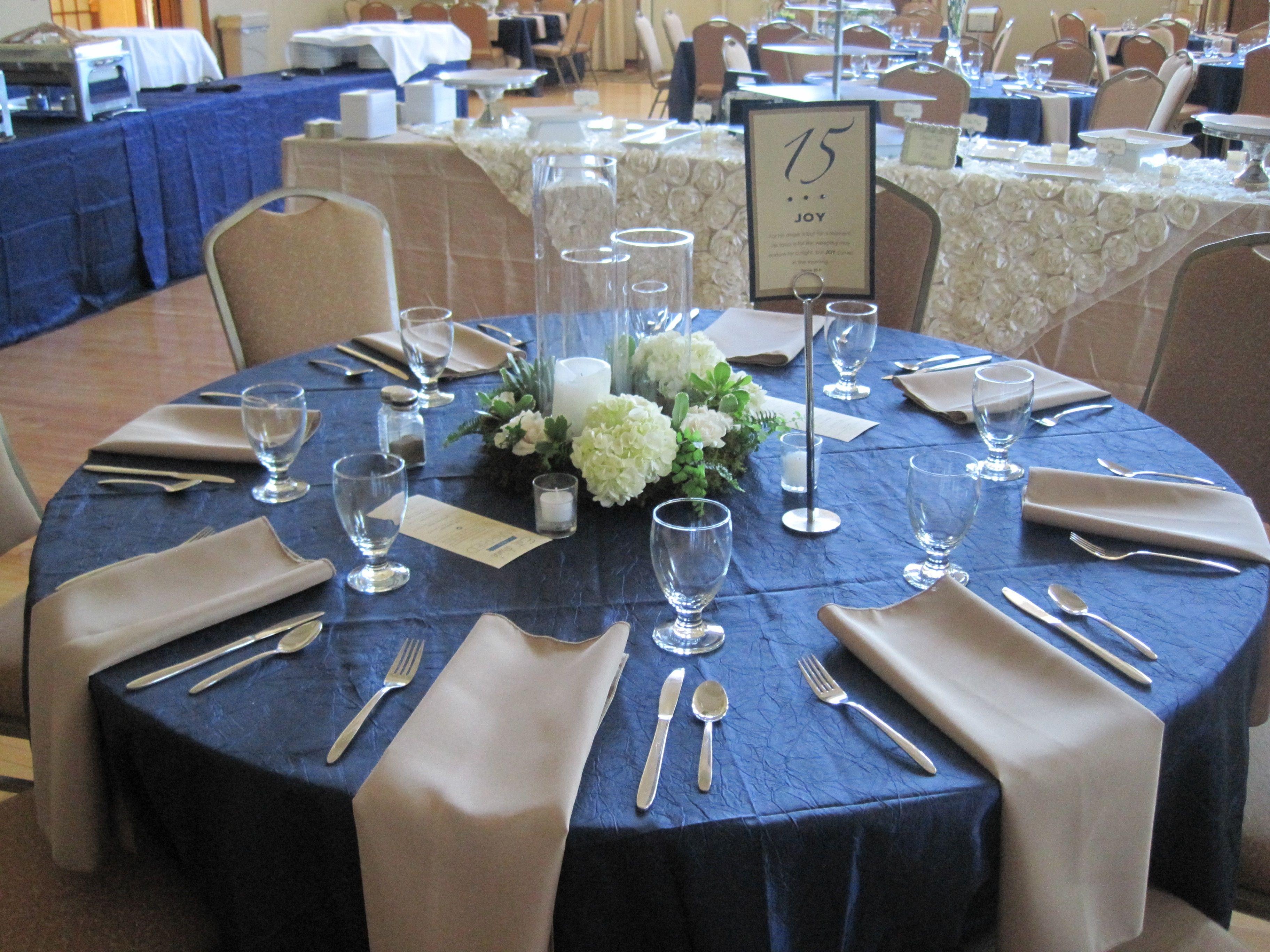 Glencoe City Center, Deep Blue Table Cloth, Table Setting, White