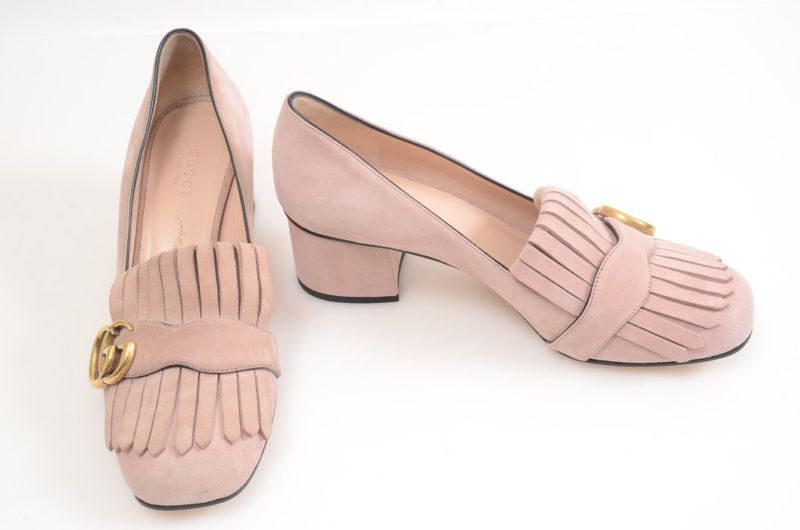 b3bb59570cdf Gucci Marmont pink 8 38 suede fringe GG logo block loafer pump shoe  790