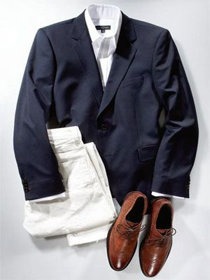 Two-button wool blazer ($200) by Tommy Hilfiger; cotton shirt ($245) by Robert Talbott; cotton jeans ($250) by Diesel; leather shoes ($295) by Donald J. Pliner.