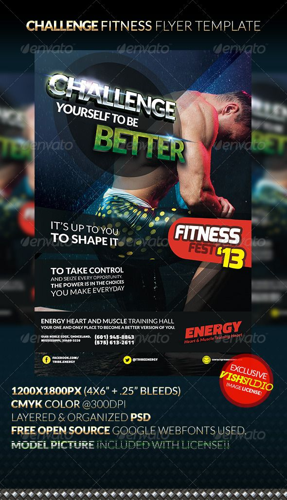CHALLENGE Fitness Flyer Template Flyer template, Template and - fitness flyer