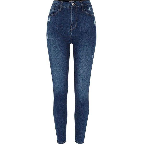 Womens Bleu Taille Haute Super Skinny Île De La Rivière Jeans Harper ZE36GL