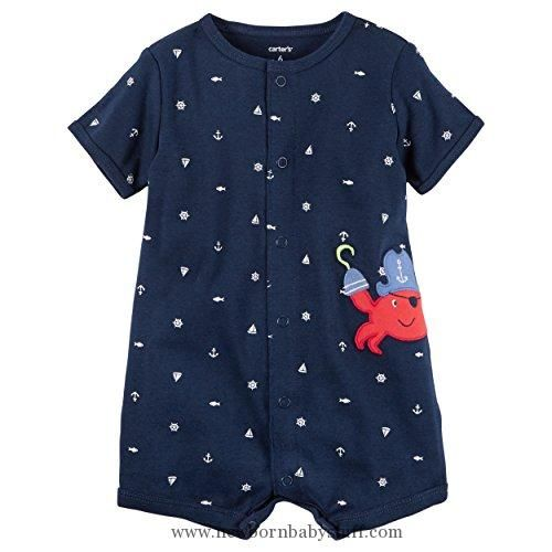 Carter/'s Baby Boy Creeper//Romper ~ White with Crab /& Anchor Print ~