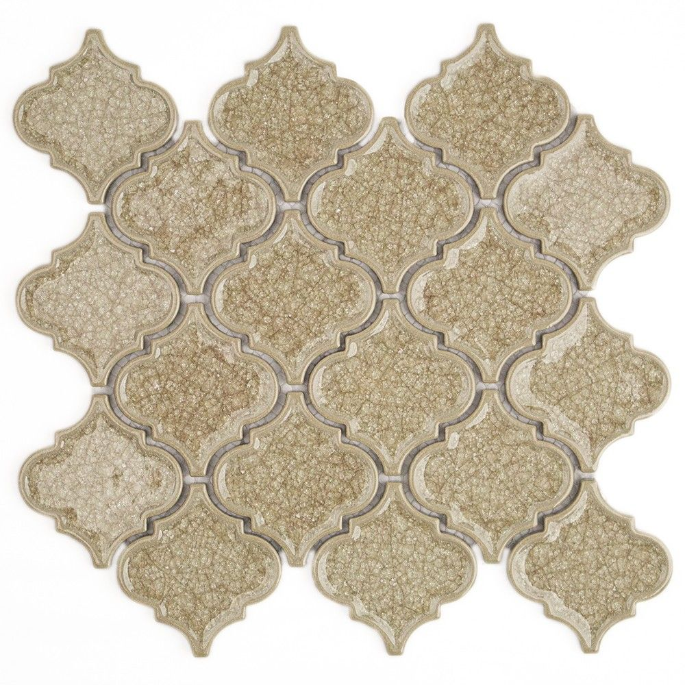 Roman Hazelnut Cream Arabesque Glass Tile Arabesque Tile Mosaic Wall Tiles Mosaic Glass